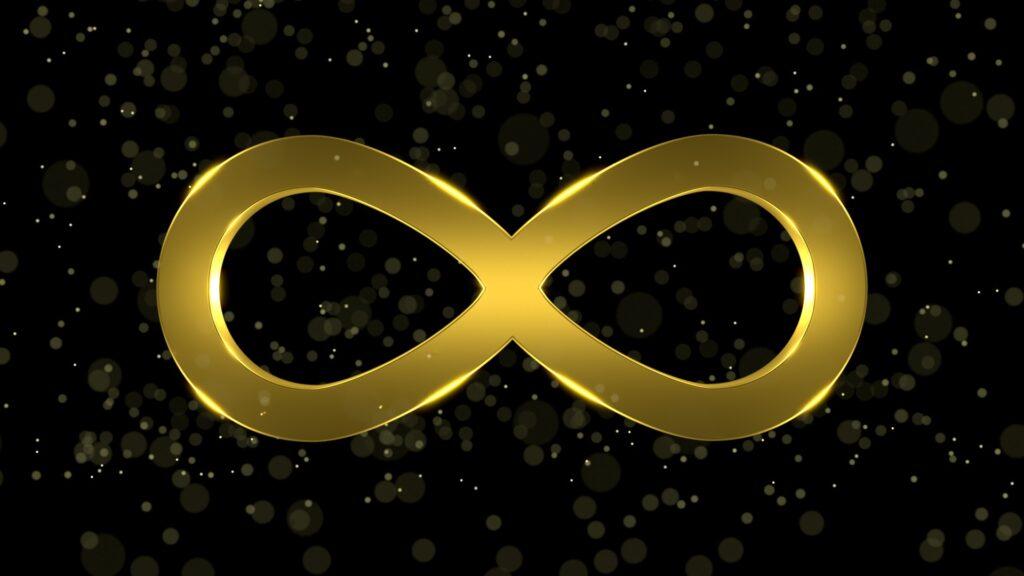 gyldent uendelighedssymbol på stjernehimmel